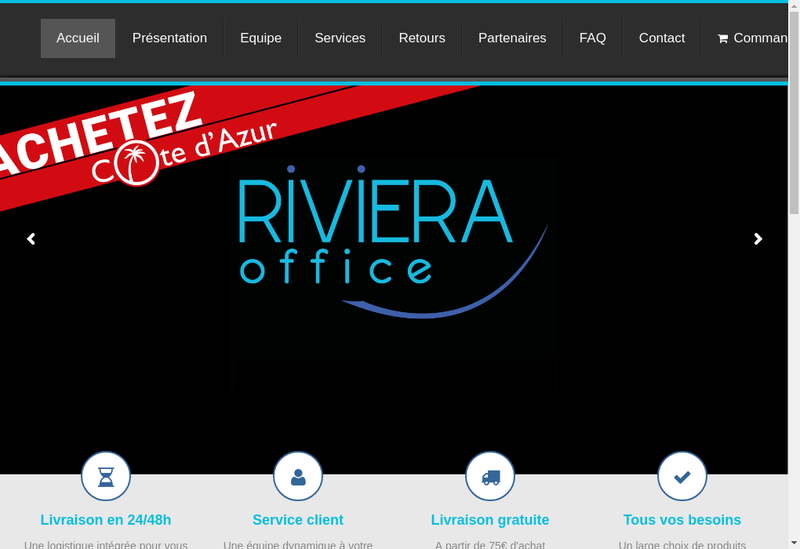 Capture d'écran du site de Riviera Office