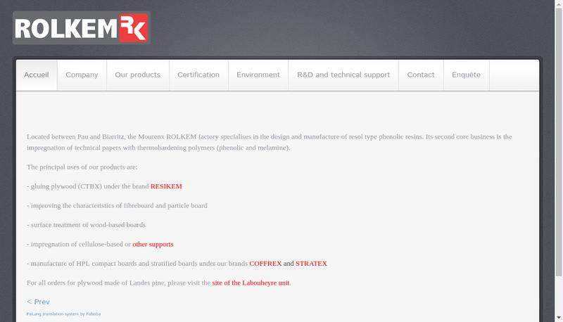 Capture d'écran du site de Rolkem