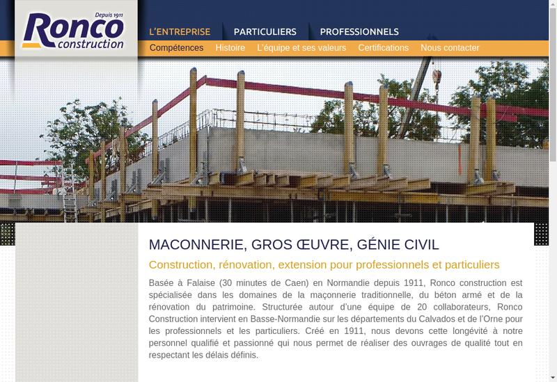 Capture d'écran du site de Ronco Construction
