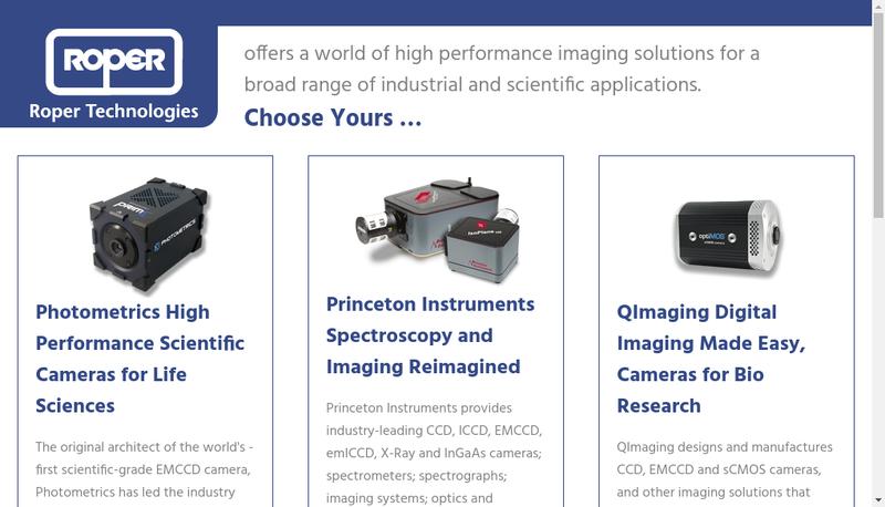 Capture d'écran du site de Roper Scientific SARL