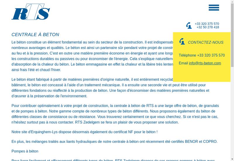 Capture d'écran du site de RTS Beton SARL