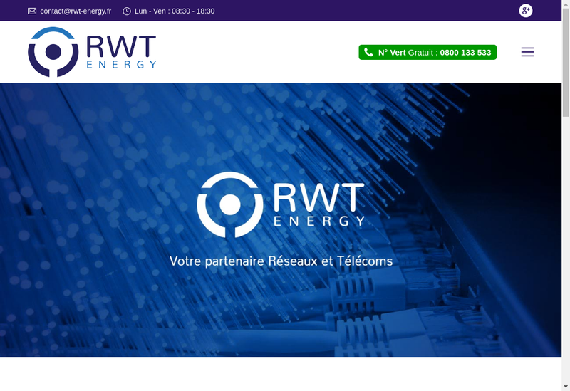 Capture d'écran du site de Rwt Energy