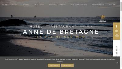 Site internet de Hotel Restaurant Anne de Bretagne