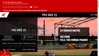 Site internet de Pro Bike 25