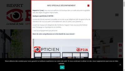 Site internet de Bidart Optik