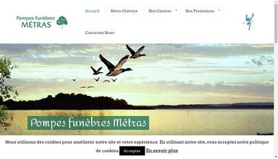 Site internet de Pompes Funebres Metras