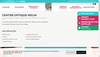Site internet de Centre Optique Melin