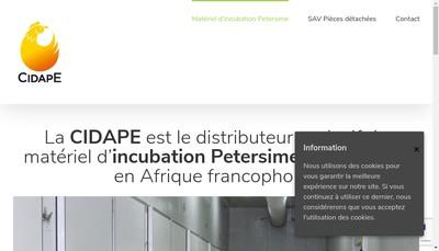 Site internet de Cidape - Compagnie pour l'Importation et la Diffusion d'Appareils et de Produits pour l'Elevage