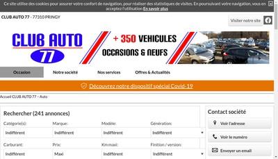 Site internet de Club Auto 77