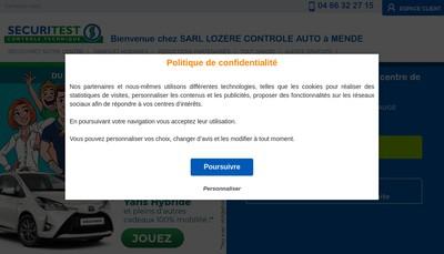 Site internet de Lozere Controle Auto