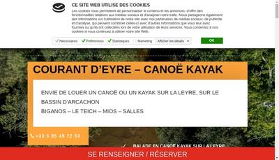 Site internet de Canoe-Kayak Courant d'Eyre
