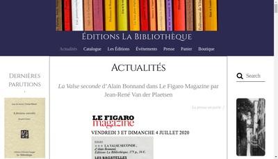 Site internet de Edition la Bibliotheque