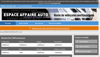 Site internet de Espace Affaire Auto