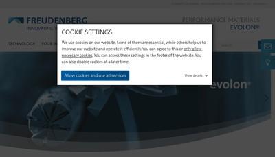 Site internet de Freudenberg Performance Materials