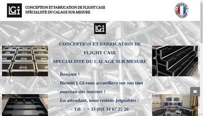 Site internet de LGi - Créateur de Flight cases et Calages sur mesure