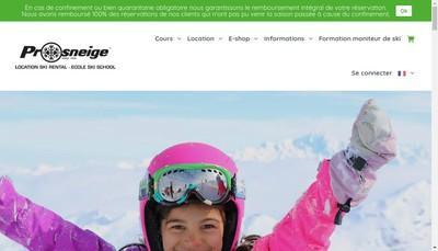 Site internet de Prosneige
