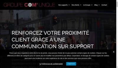 Site internet de Groupe Com'Unique - Cristal