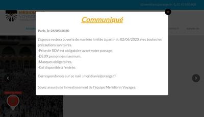 Site internet de Meridianis Voyages