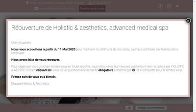Site internet de Holistic & Aesthetics Advanced Medical Spa