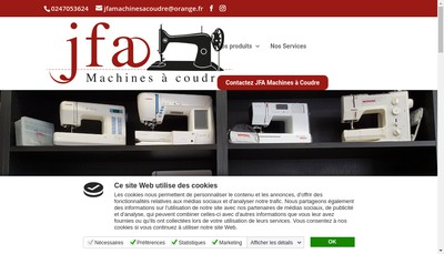 Site internet de Jfa Machines a Coudre