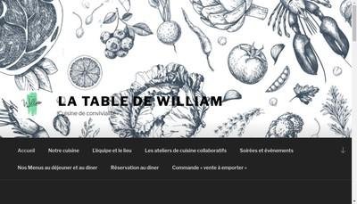 Site internet de La Table de William