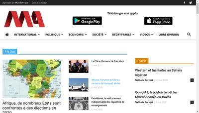 Site internet de Mondafrique