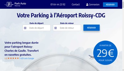 Site internet de Park Auto Prestige