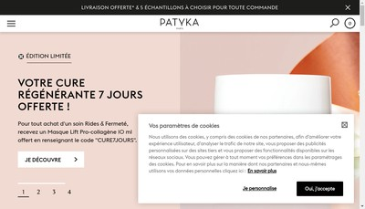 Site internet de Patyka Cosmetics
