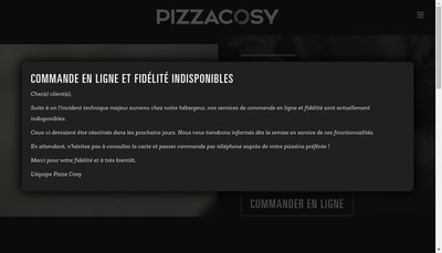 Site internet de Pizza Cosy