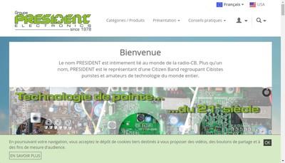 Site internet de Groupe President Electronics