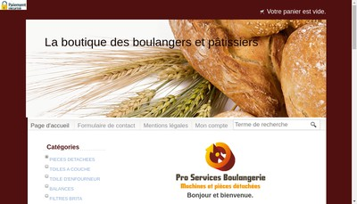 Site internet de Pro Services Boulangerie