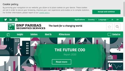 Site internet de Bnp Paribas Securities Services