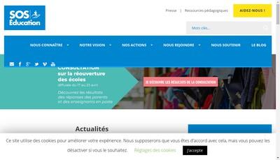 Site internet de Sos Education