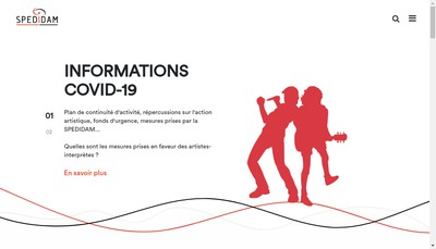 Site internet de Societe de Perception & de Distribution des Droits des Artistes Interpretes