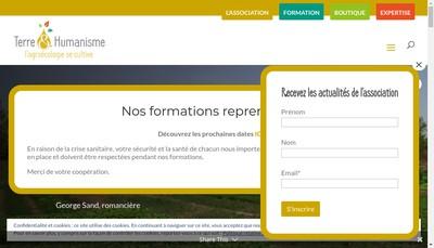 Site internet de Terre Humanisme-Pratiq Ecolog Solida Int