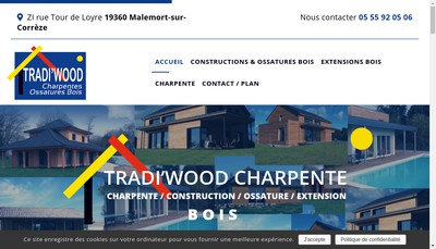 Site internet de Tradi'Wood Charpente Anciens et Mombelet