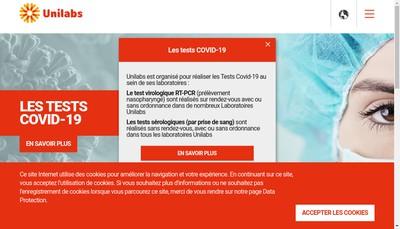 Site internet de Laboratoire Unilabs France