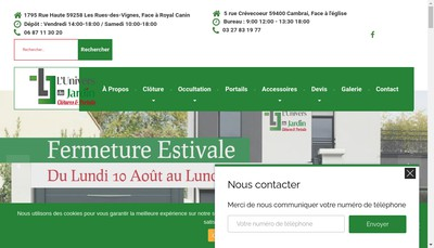 Site internet de L'Univers du Jardin