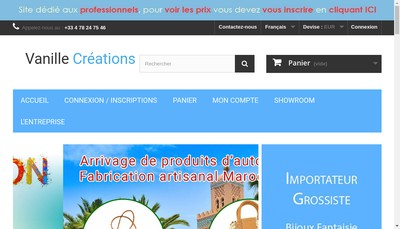 Site internet de Vanille Creations