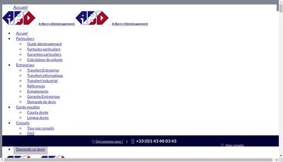 Site internet de Abd Transfert d'Entreprises, Abd Demenagements d'Entreprises, Transport a Bercy Demenagements