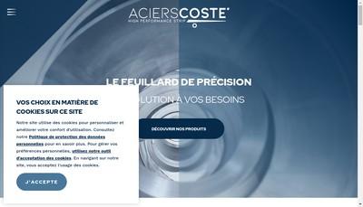 Site internet de Aciers Coste