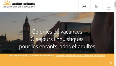 Site internet de Action Sejours