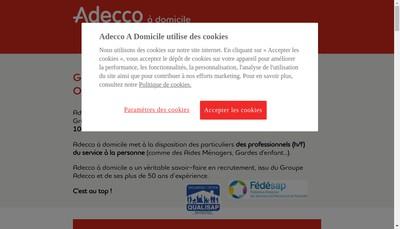 Site internet de Adecco a Domicile