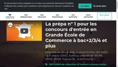 Site internet de Admissions Paralleles