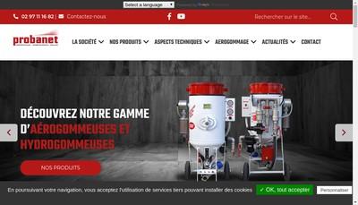 Site internet de Probanet Equipements