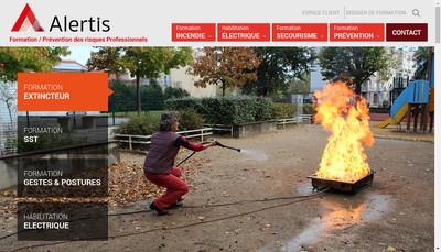 Site internet de Alertis Formation Incendie Sst Gestes et Postures Habilitation Electrique Cse