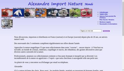 Site internet de Alexandre Import Nature Monde
