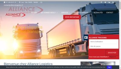 Site internet de Alliance Logistics