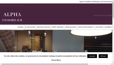Site internet de SARL Alpha Immobilier