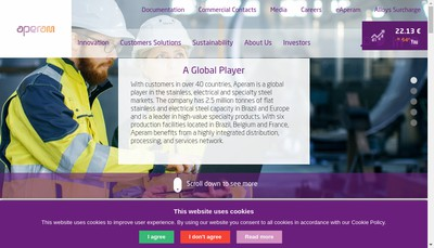 Site internet de Aperam Stainless Precision
